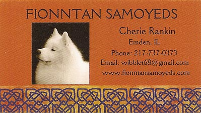 Business card for Fionntan Samoyeds