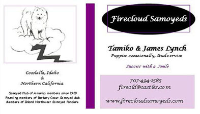 Business card for Firecloud Samoyeds