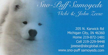 Business card for Sno-Puff Samoyeds