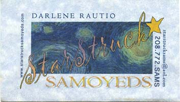 Business card for Starstruck Samoyeds